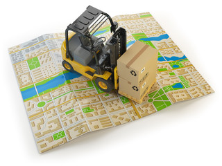 Wall Mural - Forklift with cardboard boxes on the city map isolated on white.