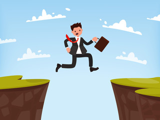 Concept of overcoming obstacles to work. Businessman jumps open.