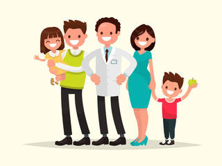 Family dentist. The dentist and his smiling patients . Vector il