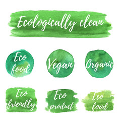 Ecology logotypes on abstract watercolor paint blots, stains and splashes isolated on a white background. Eco, organic icons. Healthy food concept. Vector watercolor Eco green labels.