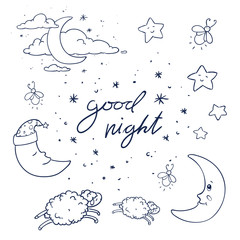 Vector Illustration of Hand Drawn Good Night Design Elements