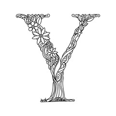 Letter Y coloring book for adults vector