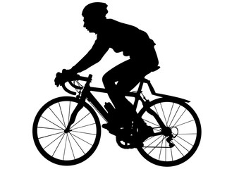 Wall Mural - Sport man whit bike on white background