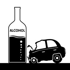 Bottle with alcohol, a car accident. Drunkenness and driving. St