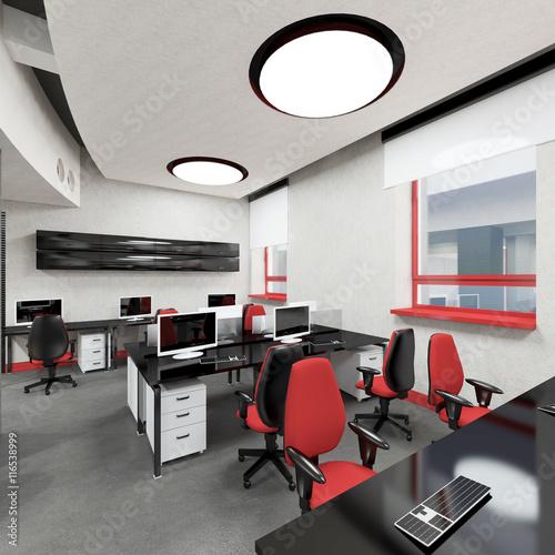 empty modern office interior work place photo libre de droits sur la banque d 39 images fotolia. Black Bedroom Furniture Sets. Home Design Ideas