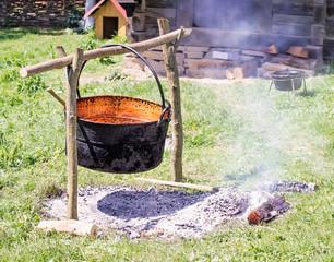 Cast Iron Pot over Fire Pit