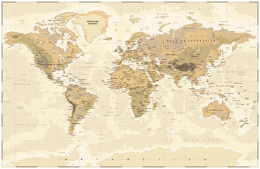 Vintage Physical World Map