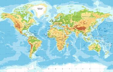 Obraz Fizyczna mapa świata - fototapety do salonu