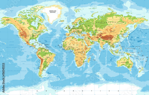 Physical world map stock image and royalty free vector files on physical world map gumiabroncs Gallery
