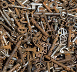 A collection of old and rusty key's