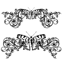 butterfly floral border design
