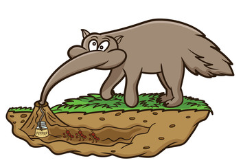Anteater Looking for Ants Cartoon Illustration