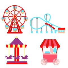 Set icons amusement park isolated on white background. Vector illustration