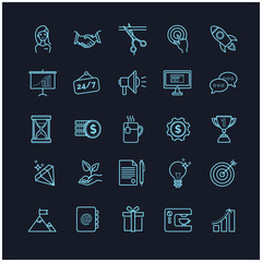 start up icons on a black background