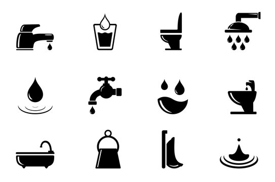 set of water and bathroom object