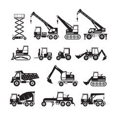 Construction Vehicles Objects Silhouette Set, Side View, Heavy Equipment, Machinery, Engineering