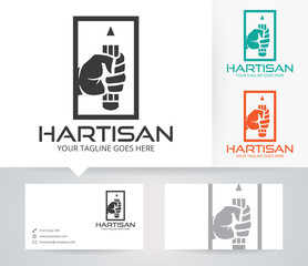 Creative Hand vector logo with alternative colors and business card template