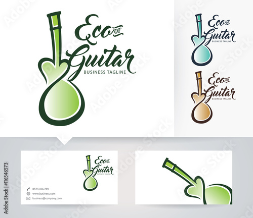 Eco guitar vector logo with alternative colors and business card eco guitar vector logo with alternative colors and business card template reheart Image collections