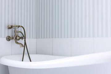 Elegant bathroom. Close up view of a bath tub