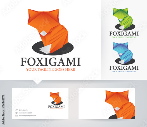 Fox Origami Vector Logo With Alternative Colors And Business Card