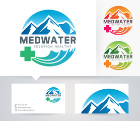 Med Water vector logo with alternative colors and business card template