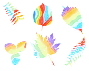 Collection of leaves painted watercolor rainbow colors on a whit