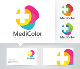 Medical Color vector logo with alternative colors and business card template