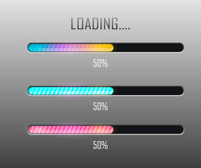 Vector progress loading bar.