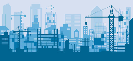 Construction Skyline, Scene, Blue Background, Site, City, Urban, Facility Wall mural