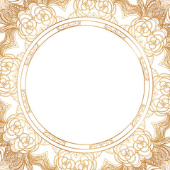 Round floral border frame silhouettes. Can be used for decoration and design photo frame, menu, card, scrapbook, album. Vector Illustration.