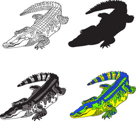 illustration depicting crocodile, made contour, silhouette, black and white spots and bright colors.