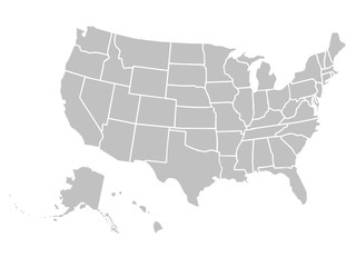 Blank similar USA map isolated on white background. United States of America country. Vector template for website, design, cover, infographics. Graph illustration. Fototapete