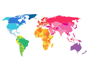 Wall Mural - Political World Map. Detailed World map of rainbow colors.