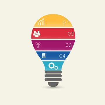 Vector light bulb infographic.