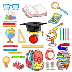 Education objects back to school collection hand drawn elements