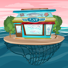 Fish shop cartoon sea food facade building vector