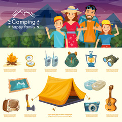 Camping family infographics cartoon hiking and outdoor
