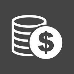Money icon on grey background. Coins vector illustration in flat style. Icons for design, website.