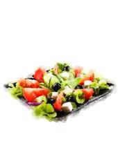 Greek Salad isolated, Greek Salad on white background. Greek Salad ingredient, original Greek Salad recipe. Greek Salad icon. Greek Salad with fresh vegetables. Greek Salad in bowl