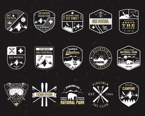 Stamps for outdoors camp. Different tourism hipster style patch and badges. Expedition emblem. Winter or summer ski patrol graphic. Snowboarding insignia. First aid mountain rescue logo for web, print