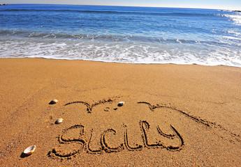 Sicily sign on the beach