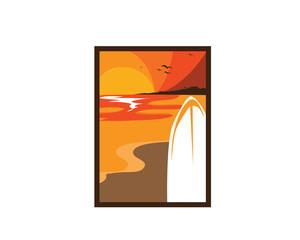 Modern Tropical Summer Vacation - Sunset Surf Beach