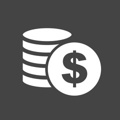 Money silhouette icon on grey background. Coins vector illustration in flat style. Icons for design, website.