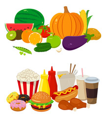 Set of cartoon food and drinks for restaurant or commercial. Fast food icons. Fruits and Vegetables icons. Vector