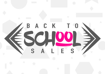 Vector illustration of back to school greeting card with typography element on seamless geometric background