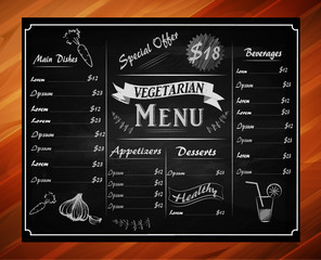 full vector template Chalkboard menu