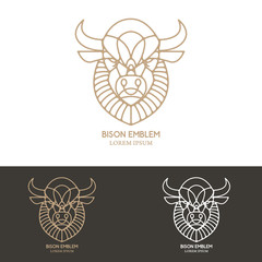 Bison head in line style.
