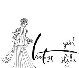 Uncolored Beautiful fashion woman. Retro style. Coloring book in vector. Vintage inspiration.