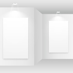empty white room with picture frame