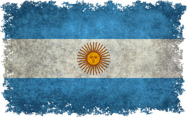 Flag of Argentina with distressed textures